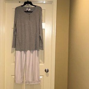 NWT Karen Neuburger Grey Long Sleeve Pajama Set